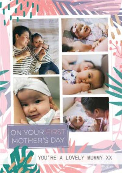 Pastel Tropical Print Happy First Mother's Day Photo Card