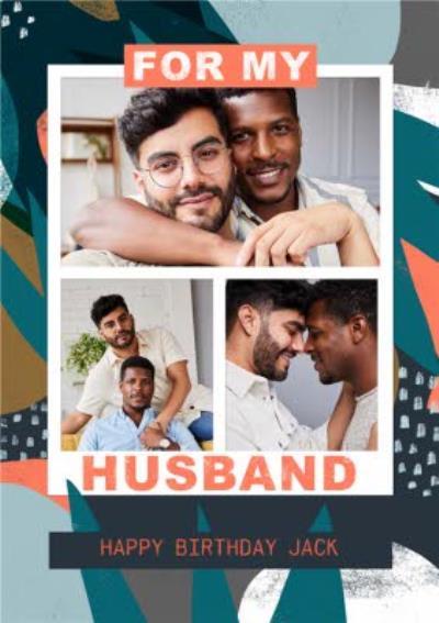 For My Husband Photo Upload Birthday Card