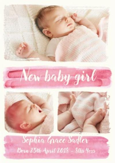 Paint A Picture New Baby Girl Photo Upload Card
