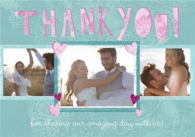 Green And Pink Three Photo Upload Personalised Wedding Thank You Card