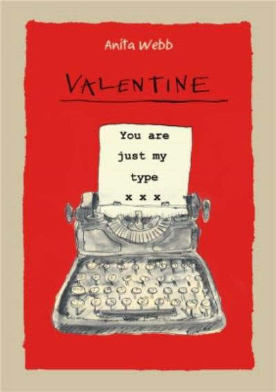 You Are Just My Type Pun Typewriter Valentines Day Card
