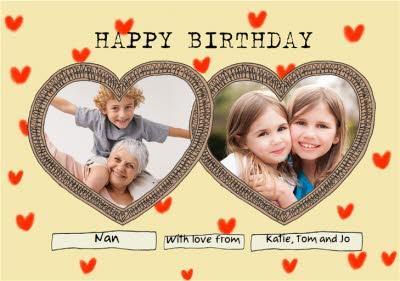 Lockdown Hearts Nan With Love From Happy Birthday Photo Upload  Card