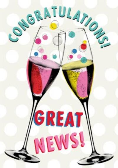 Modern Congratulations Great News Champagne Flutes Card