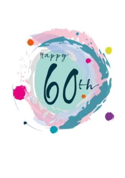 Modern Watercolour Paint Effect Happy 60th Birthday Card