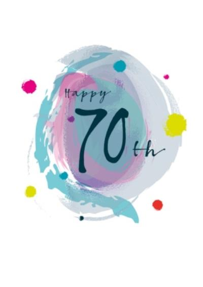 Modern Watercolour Paint Effect Happy 70th Birthday Card