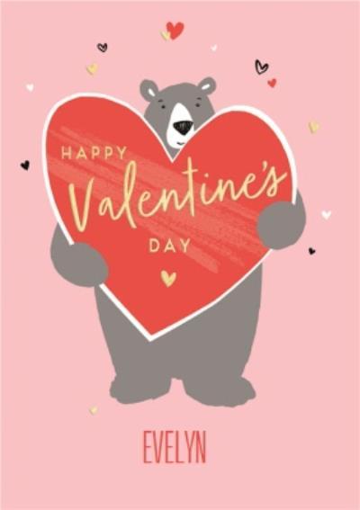 Personalised Cartoon Bear Happy Valentines Day Card