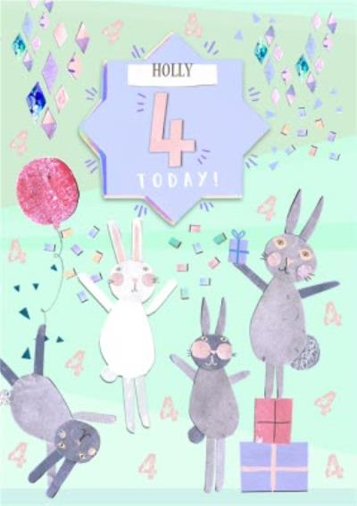 Bunnies, Confetti And Gifts Personalised Happy 4th Birthday Card