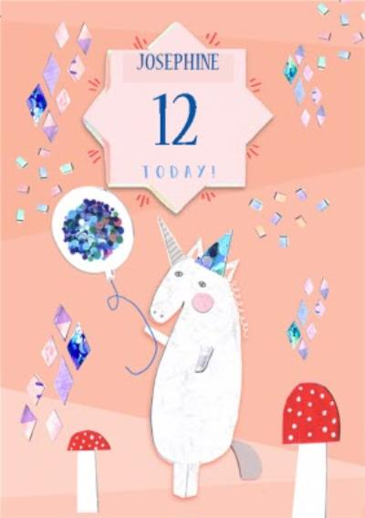 Peach Unicorn And Toadstools Personalised 12th Birthday Card