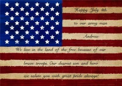 Happy 4th July American flag with short patriotic verse