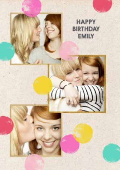 Neon Polka Dots Happy Birthday Photo Card