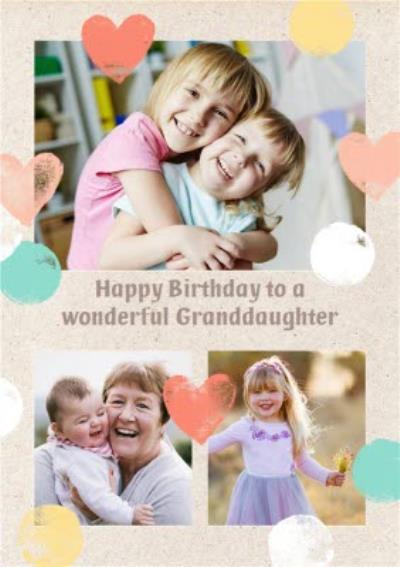 Birthday Card - Photo Upload Card - Upload 3 Photos - Granddaughter
