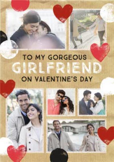 Stamped Hearts To My Gorgeous Girlfriend Photo Valentine's Day Card