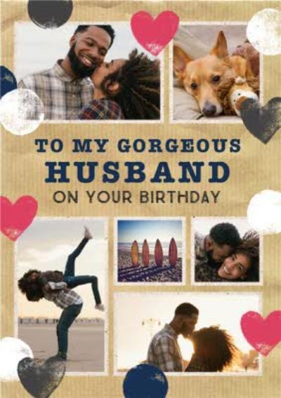 Stamped Hearts Gorgeous Husband Photo Birthday Card