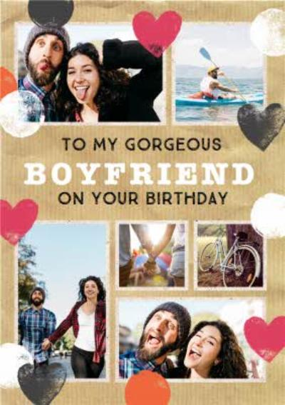 Stamped Hearts Gorgeous Boyfriend Photo Birthday Card