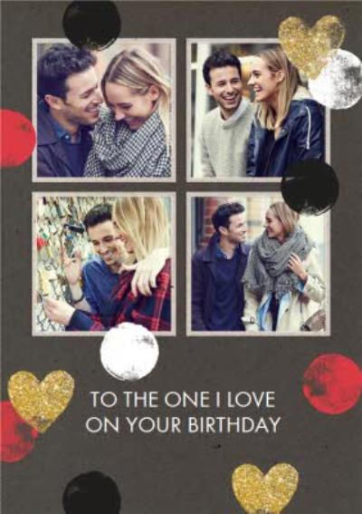 Hearts And Spots 4 Square Personalised One I love Photo Upload Birthday Card