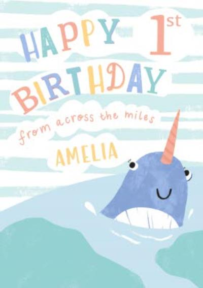 Happy 1st Birthday From Across The Miles Whale Card