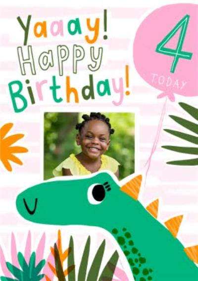 Dinosaur 4th Birthday Photo Upload Card