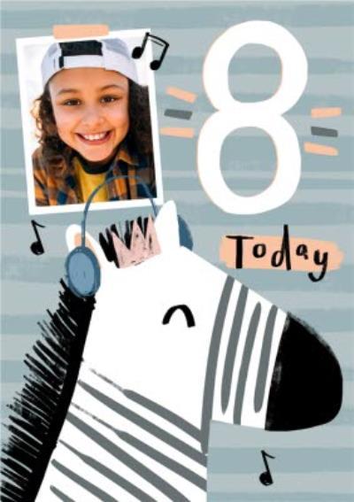 Zebra Headphones Music 8 Today Happy Birthday Card