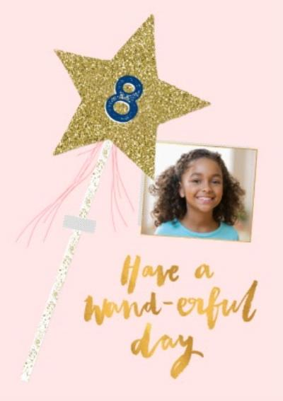 Photo upload birthday card - sparkly wand