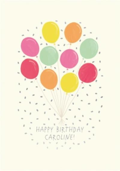 Bunch Of Colourful Balloons Personalised Birthday Card