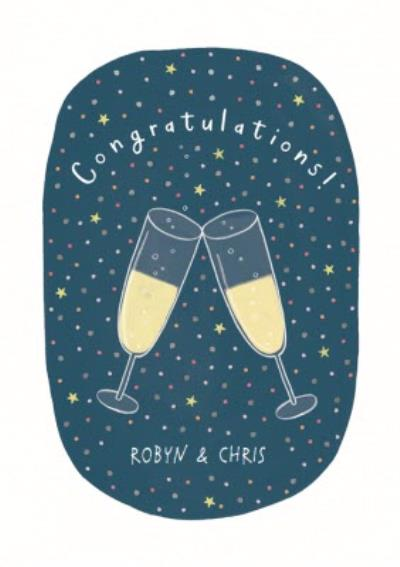 Champagne Glass Illustration Personalised Congrats Card