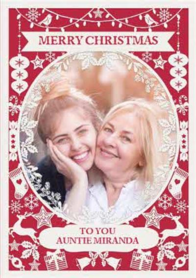 Paper Frames Photo Upload Christmas Card Merry Christmas To You Auntie