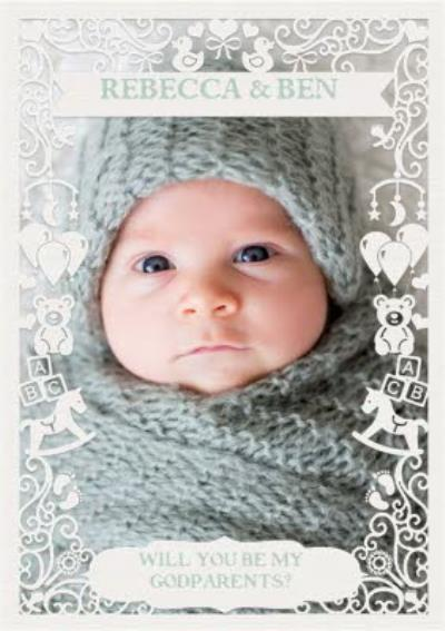 Paper Frames Photo Upload Will You Be My Godparents Christening Card