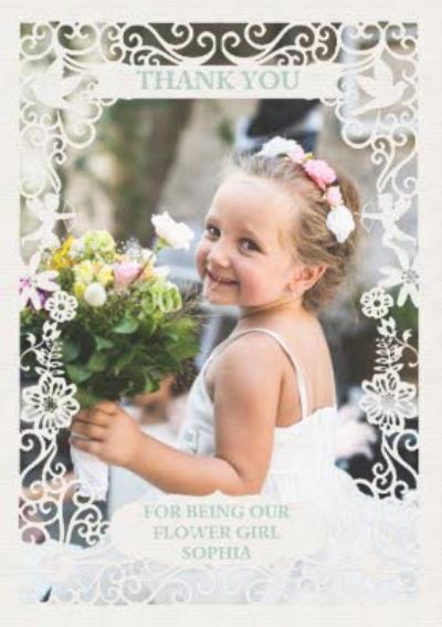 Paper Frames Thank You Being Our Flower Girl Photo Upload Wedding Thank You Card