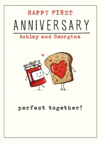 Funny Illustrative Perfect Together Anniversary Card