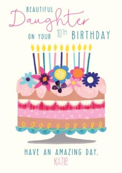 Cute Illustrative Floral Cake & Candles Daughter Birthday Card