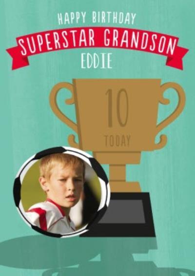 Illustrative Football Trophy Grandson Photo Upload Birthday Card