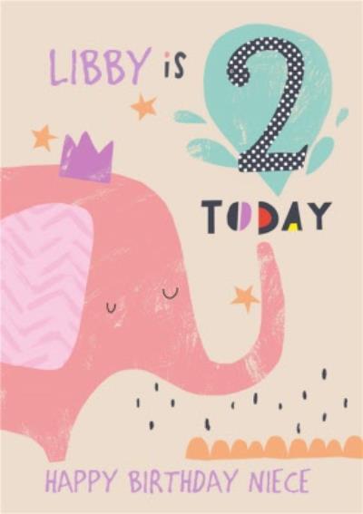 Happy Birthday Card - Elephant - 2 Today