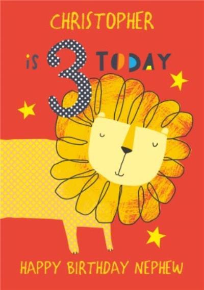 Nephew Happy Birthday Card - Lion - 3 Today