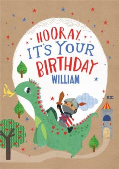 Kids Birthday Card - Hooray, It's your Birthday - Dragon - Knight