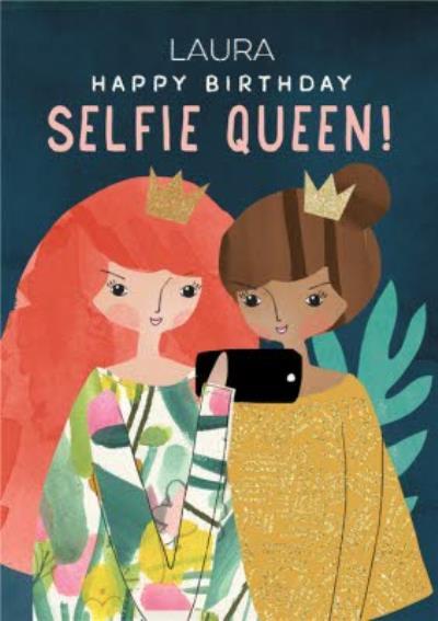 Pigment Hey Girl Illustrated Happy Birthday Selfie Queen Card
