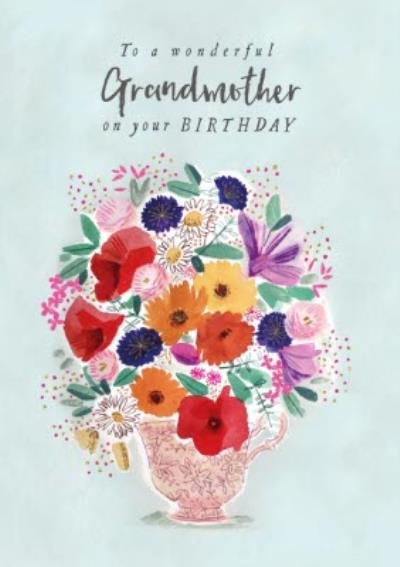 Flowers To A Wonderful Grandmother On Your Birthday Card