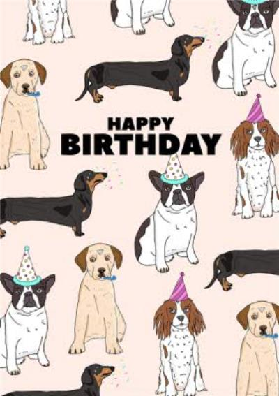 Cute Illustration Dogs Happy Birthday Card