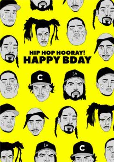 Illustration Hip Hop Hooray Happy Bday Birthday Card