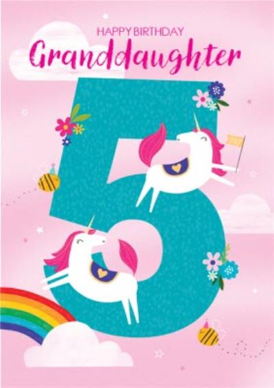 Happy Birthday Granddaughter Unicorn Rainbows 5th Birthday Card