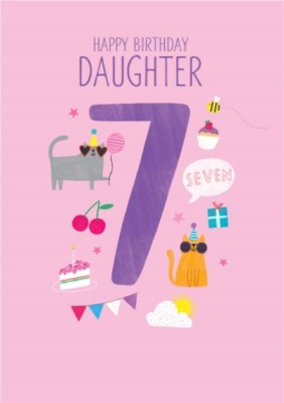 Happy Birthday Daughter Party Cats 7th Birthday Card