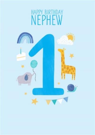 1st Nephew's Birthday Cute Icon Illustrations Card