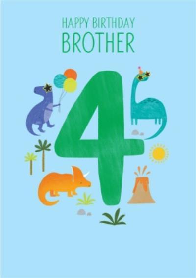Brother's 4th Birthday Dinosaur Illustrations Card