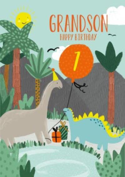 Dinosaur Illustrations Having a Birthday Party Grandson Card