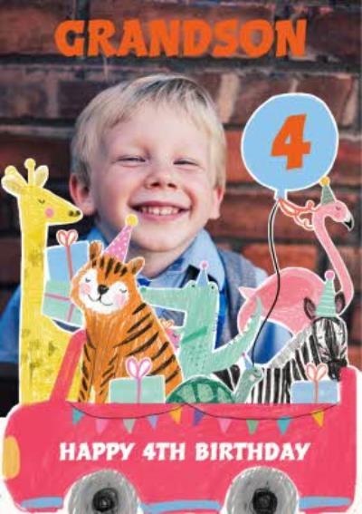 Zoo Animals In Car Photo Upload Birthday Card