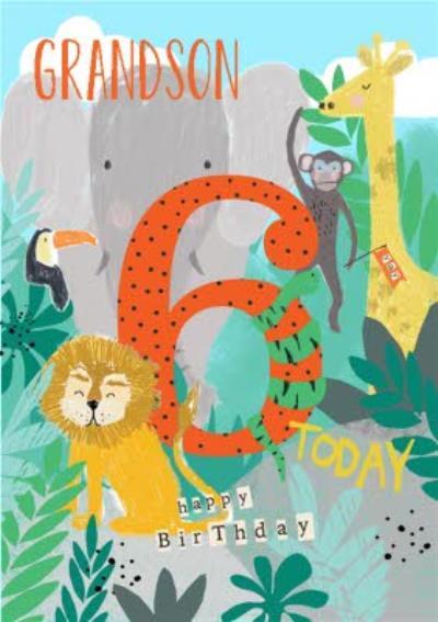 Jungle Animals Illustration 6 Today Birthday Card
