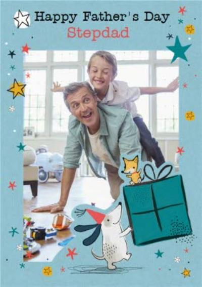 Cute Illustrated Photo Upload Stepdad Father's Day Card