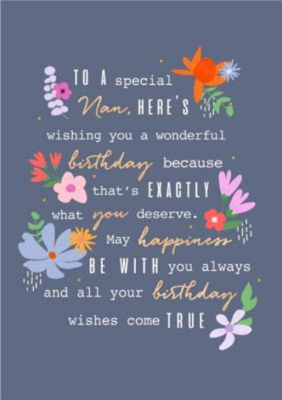 To A Special NanThoughtful Words Modern Floral Design Birthday Card