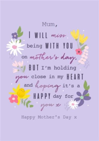 MumThoughtful Words Modern Floral Design Mother's Day Card