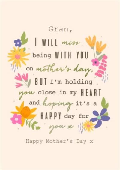 GranThoughtful Words Modern Floral Design Mother's Day Card