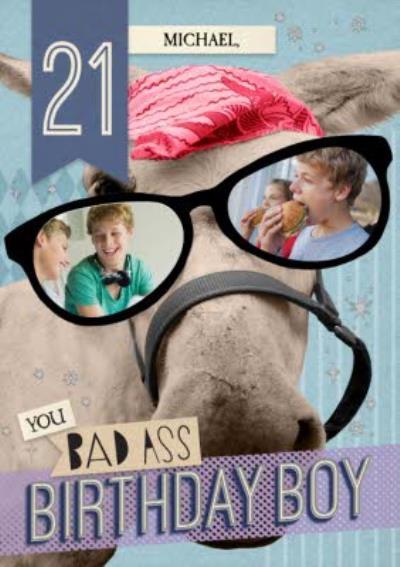 21st You Bad Ass Birthday Boy Personalised Birthday Card
